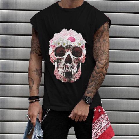 Daisy Skull Round Neck Mens T shirt