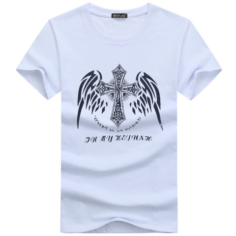 Street Style Christian Cross Mens T shirt