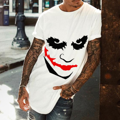 Solid color round neck fashion print short sleeve loose T shirt