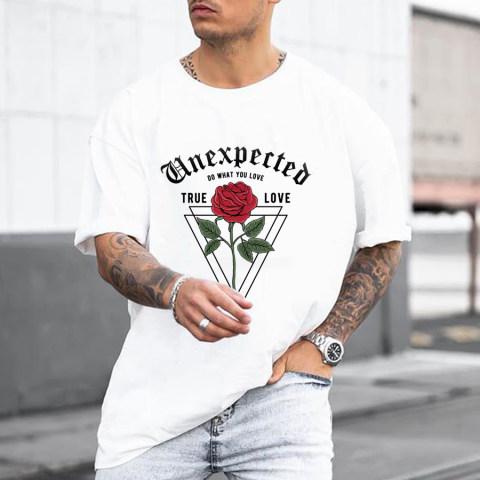 Fashion Rose Printed Mens T shirt