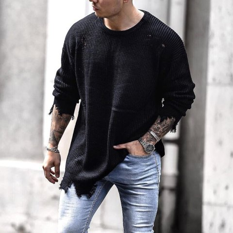Mens trend black long sleeved knitted top