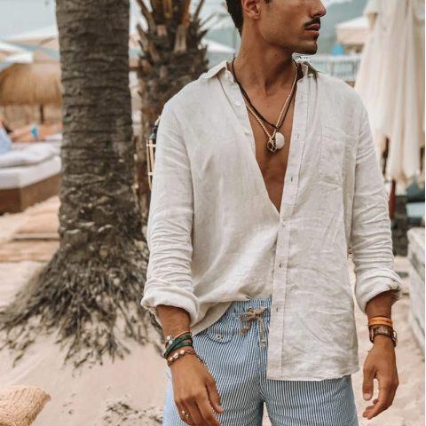 Mens long sleeve button cotton and linen shirt