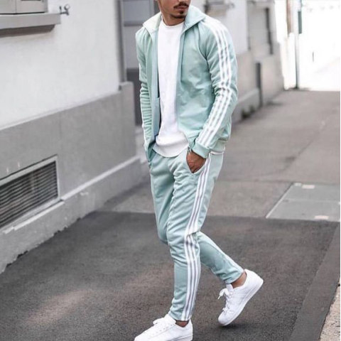 Mens Casual Light Green Sports Suit