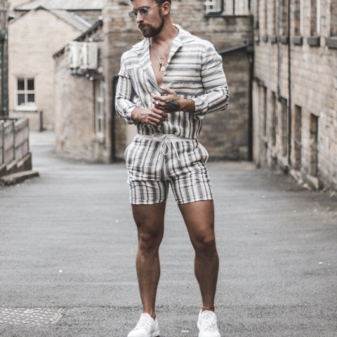 Mens Casual Printed Short Sleeve Shirt Set