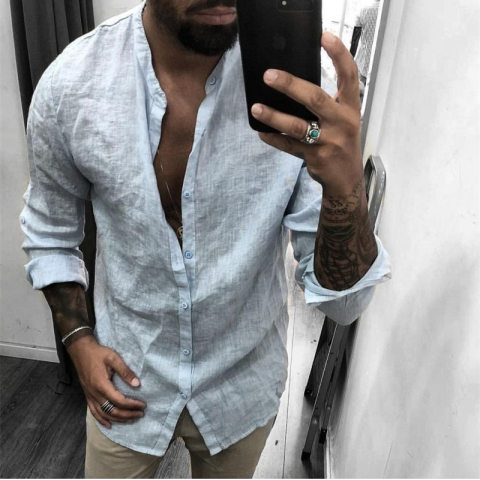 Casual fashion solid color linen long sleeve shirt