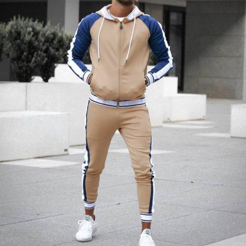 Mens casual zipper sweater sports suit