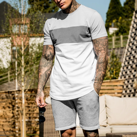 Mens casual short sleeved T shirt sports suit