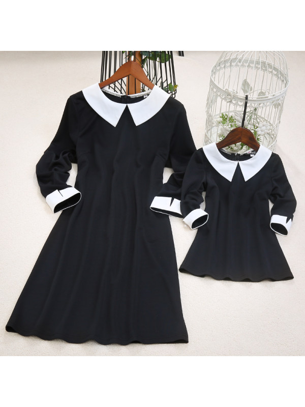 Mom Girl Doll Collar Matching Dress