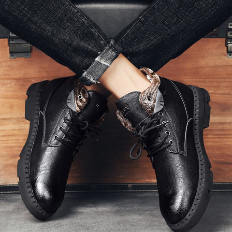 Mens British Style And Cashmere Martin Boots