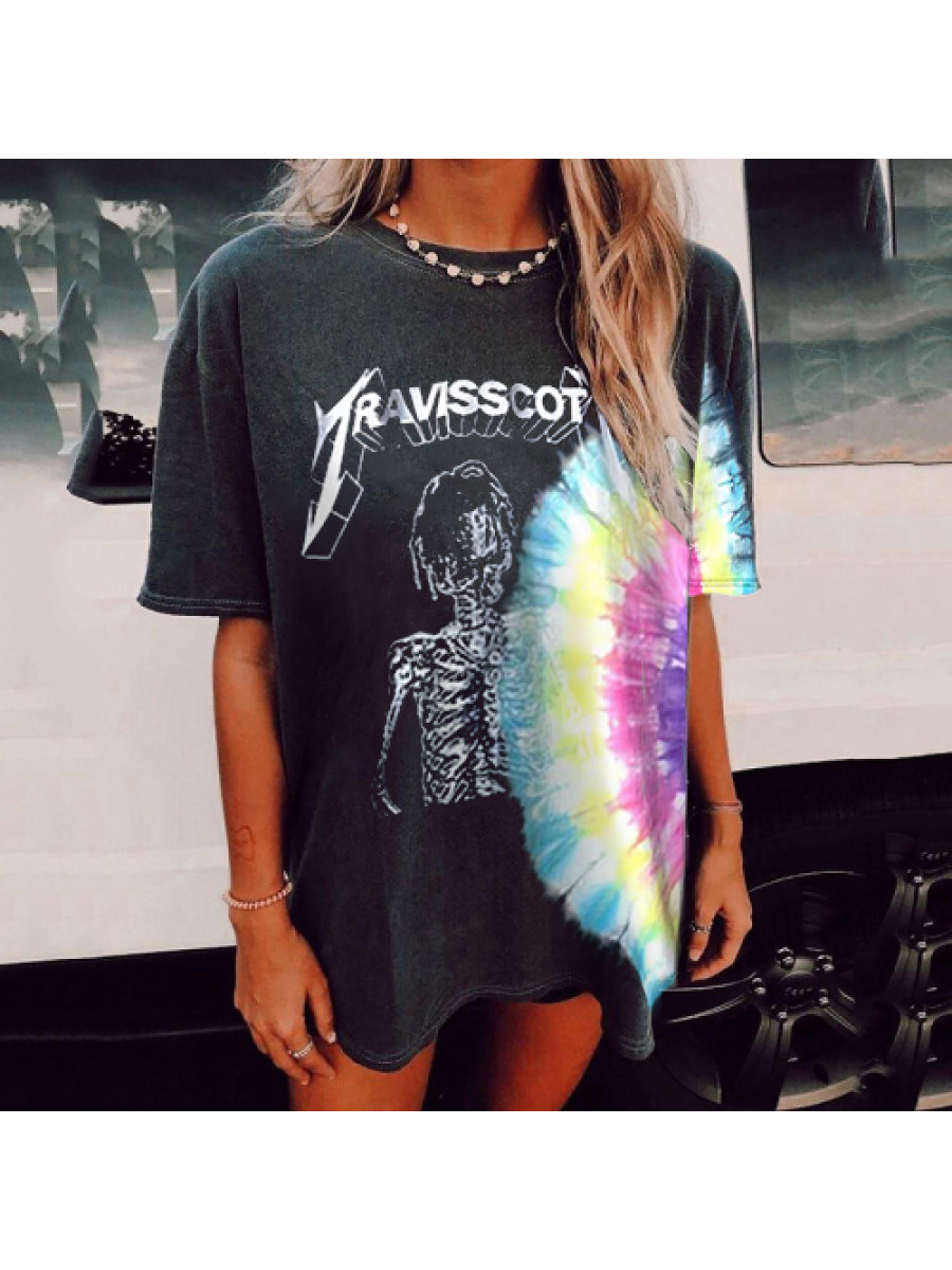 Image of Travis Scott Tie Dye Shirt Vintage printed short-sleeved t-shirts