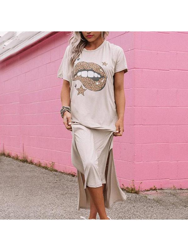 Street short sleeve lip split dress