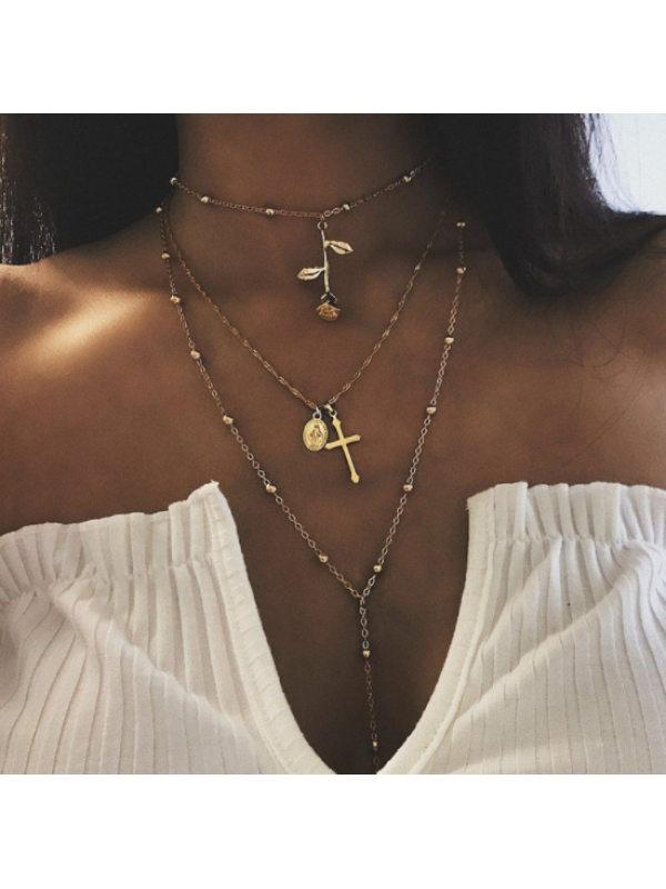 Fashion Wild Jesus Cross Portrait Rose Pendant Necklace Necklace