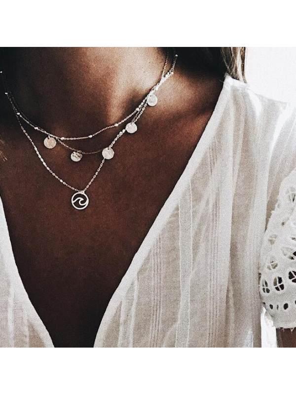 Geometric alloy disc spray pendant multilayer necklace