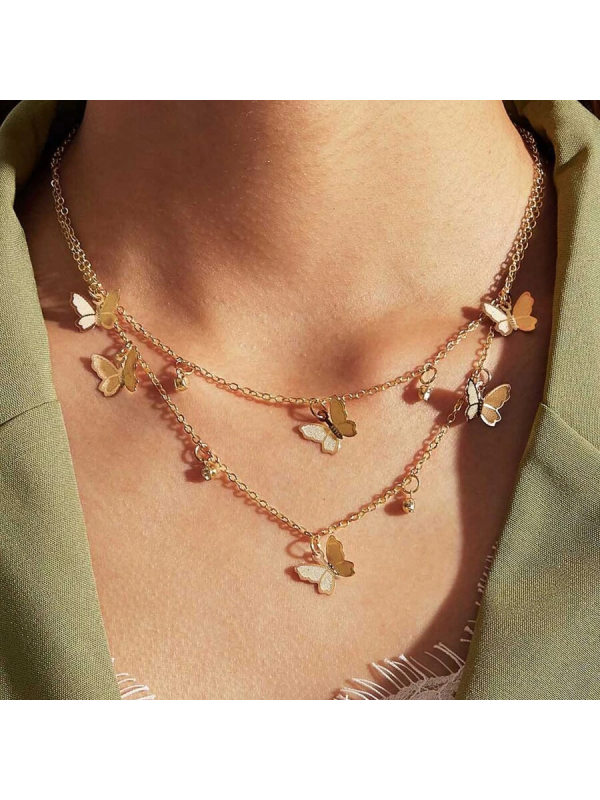 Hot Selling Butterfly Necklace Simple Alloy Butterfly Pendant Clavicle Chain