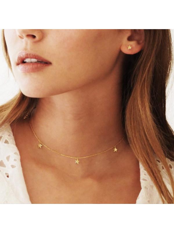 Creative retro clavicle chain golden alloy necklace
