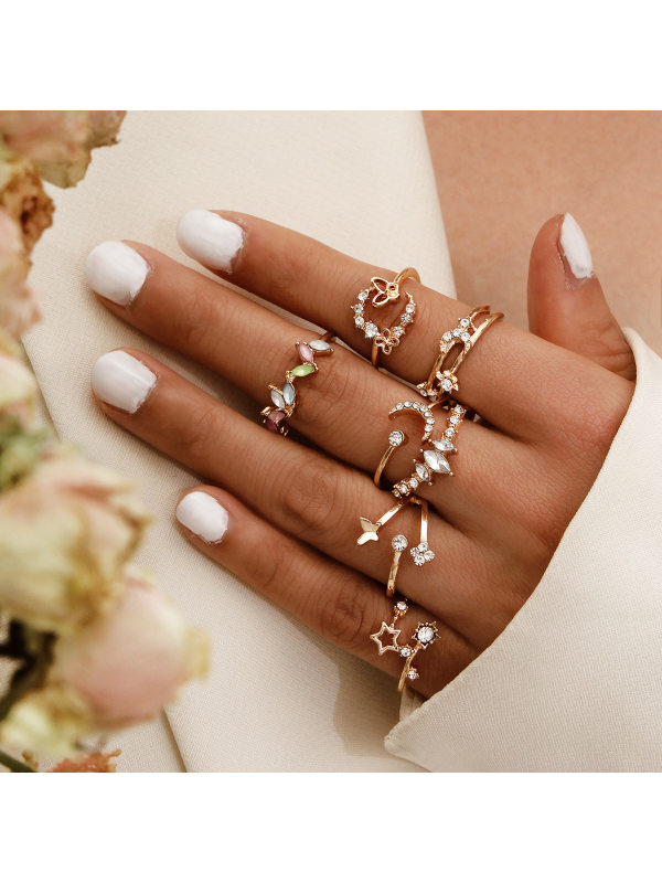 Sweet simple butterfly flower diamond color wild 7-piece ring set