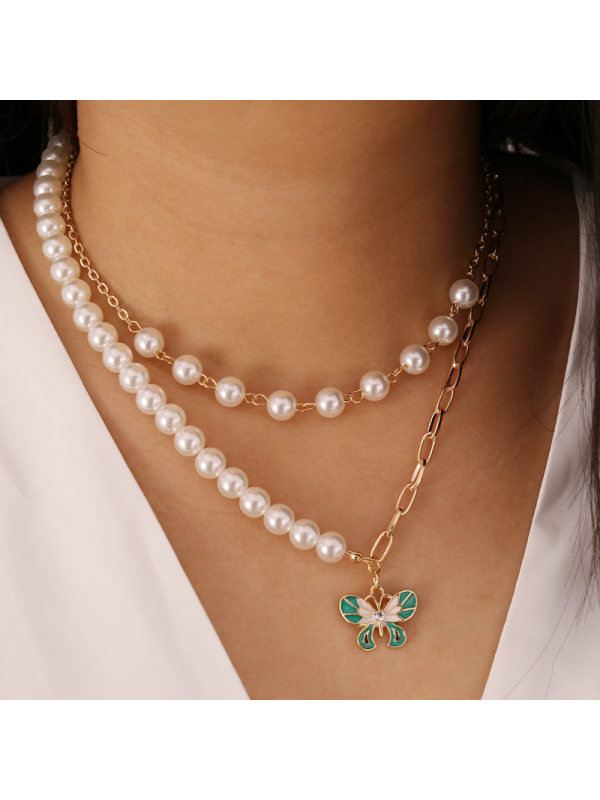 Pearl Butterfly Multilayer Necklace