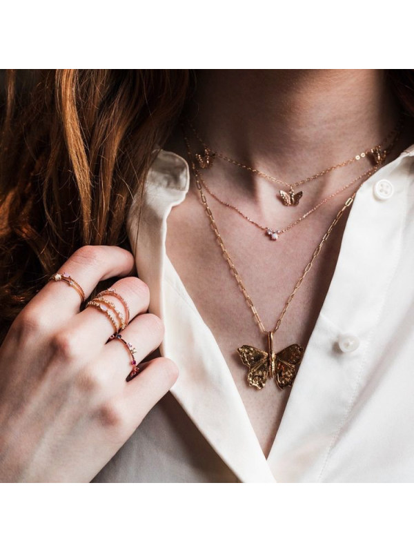 Butterfly pendant multi-layer necklace combination set