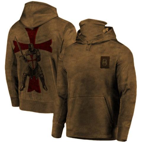 Mens Training Uniform Cross Warrior Print Hooded Sweatshirt