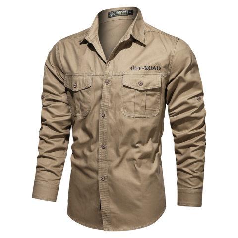 Mens Autumn Long Sleeve Shirt Solid Color Workwear Shirt