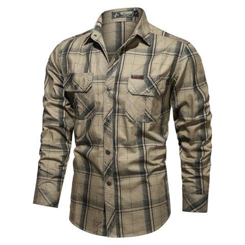 Mens Tooling Plus Size Casual Shirt Autumn Cotton Plaid Long-sleeved Shirt