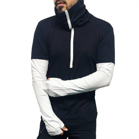 Sports High Neck Long Sleeve T Shirt With Inner Glove Sleeve