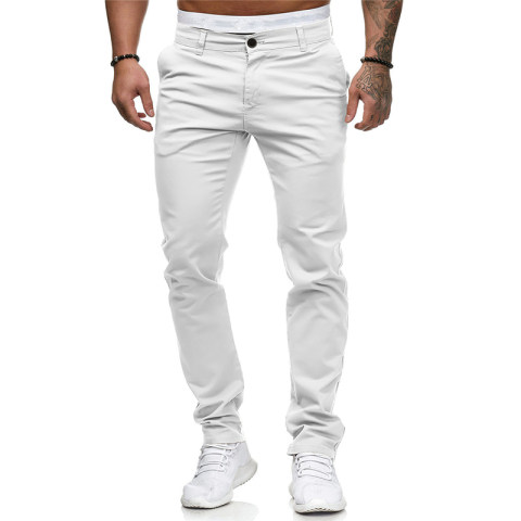 Foreign trade 2020 summer new mens casual pants solid color European and American slim fashion trousers Amazon wish hot sale