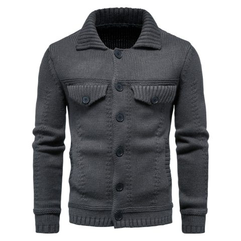 Fashion Solid Color Lapel Workwear Sweater