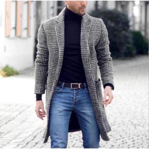 MenS Retro Simple Mid Length Plaid Coat