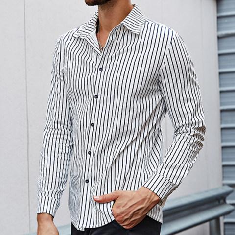 Mens street fashion casual retro punk striped shirt