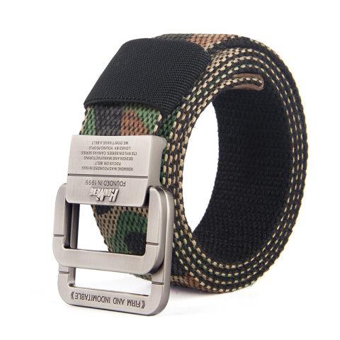 Canvas belt men's outdoor belt alloy double buckle