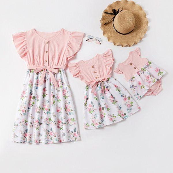 Round Neck Flower Printed Mom Girl Matching Dress