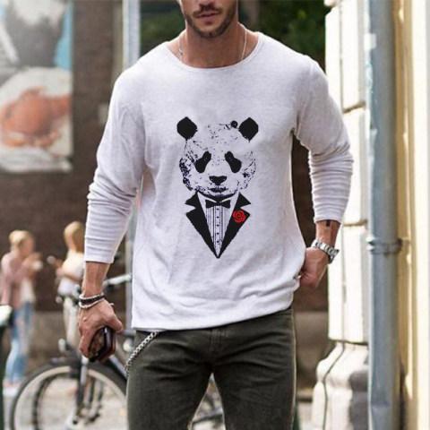 Mens fashion panda print casual T shirt