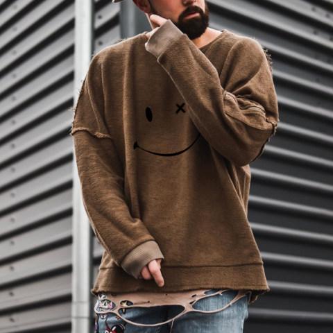 Mens Fashion Smile Long Sleeve T shirt