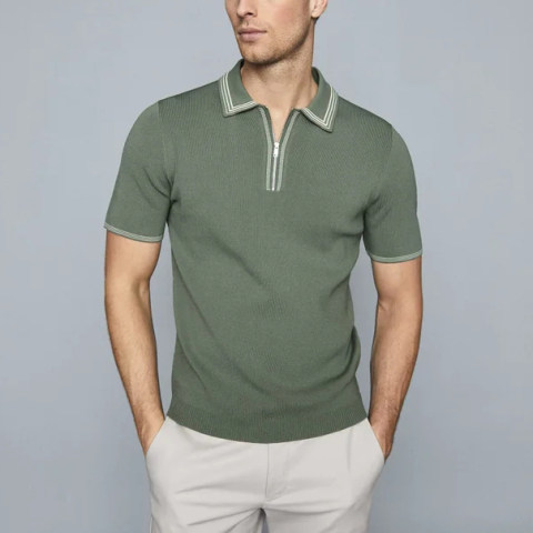 Mens fashion knitted zipper T shirt