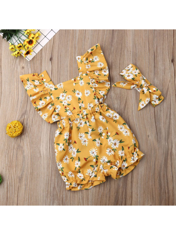 【6M-4Y】Baby Girl Little Flower Print Flying Sleeve Bodysuit With Hair Band