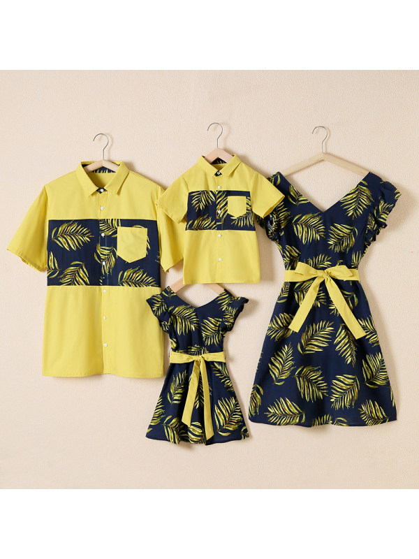 Short Sleeve Shirt And Yellow Plant Contrast Dress Family Outfits