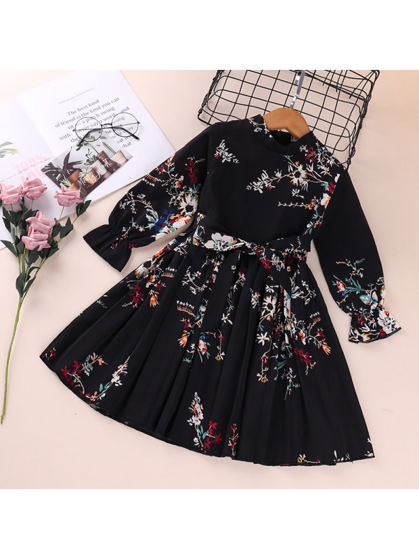【18M-7Y】Girl's Long-sleeved Printed Dress