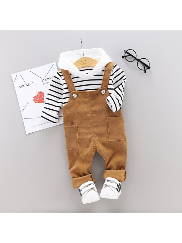 【12M-5Y】Children's Clothing Striped Long-sleeved Bib Two-piece Suit