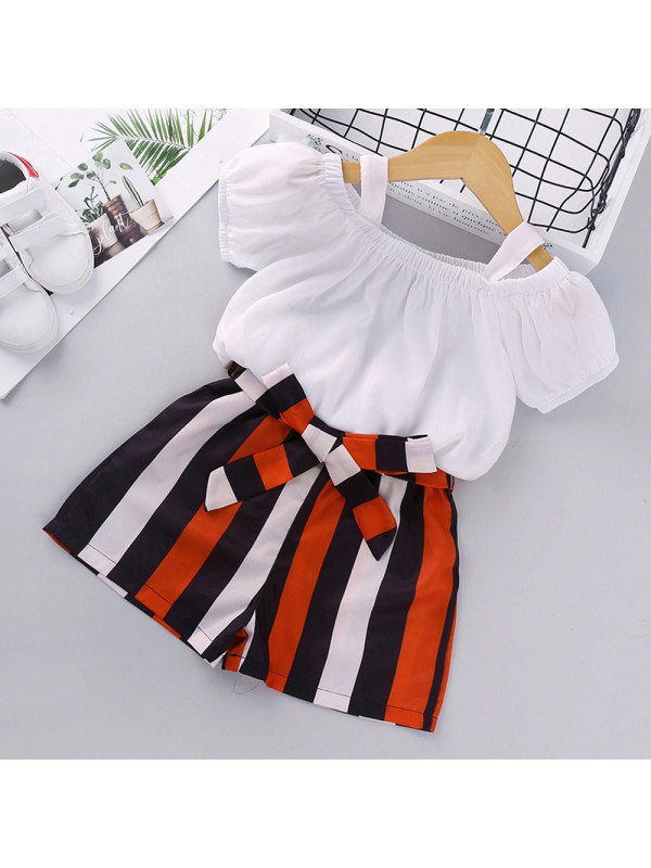 【18M-7Y】Girl's Suit Suspenders Short-sleeved Striped Shorts Two-piece Suit