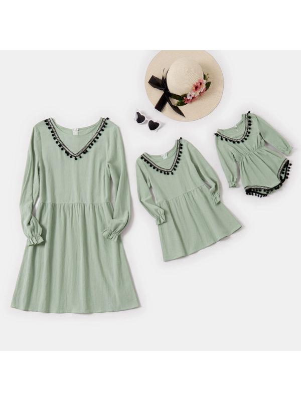 Round Neck Long Sleeves Green Mom Girl Matching Dress - 1342