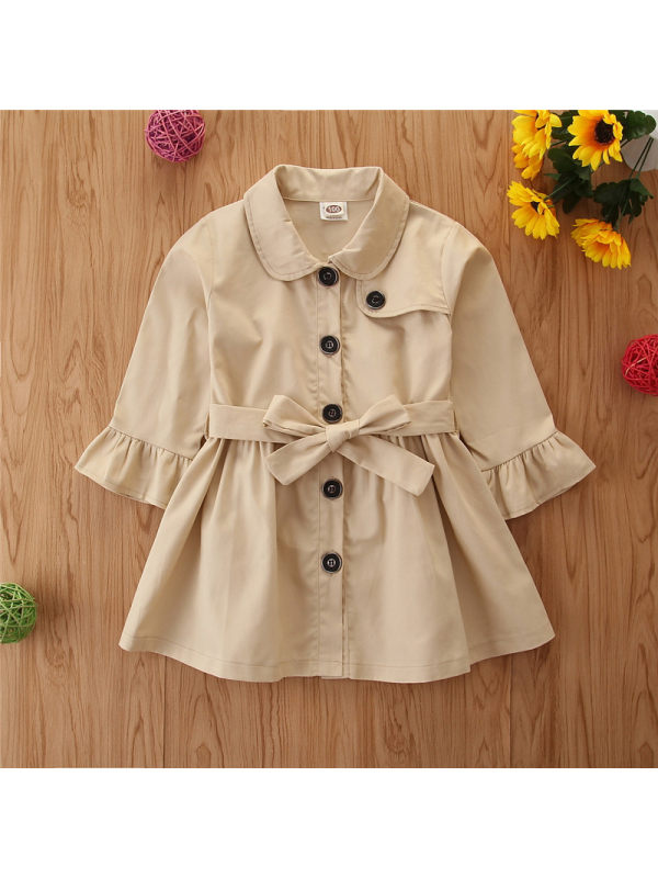 【2Y-9Y】Plain Color Flared Sleeve Trench Coat