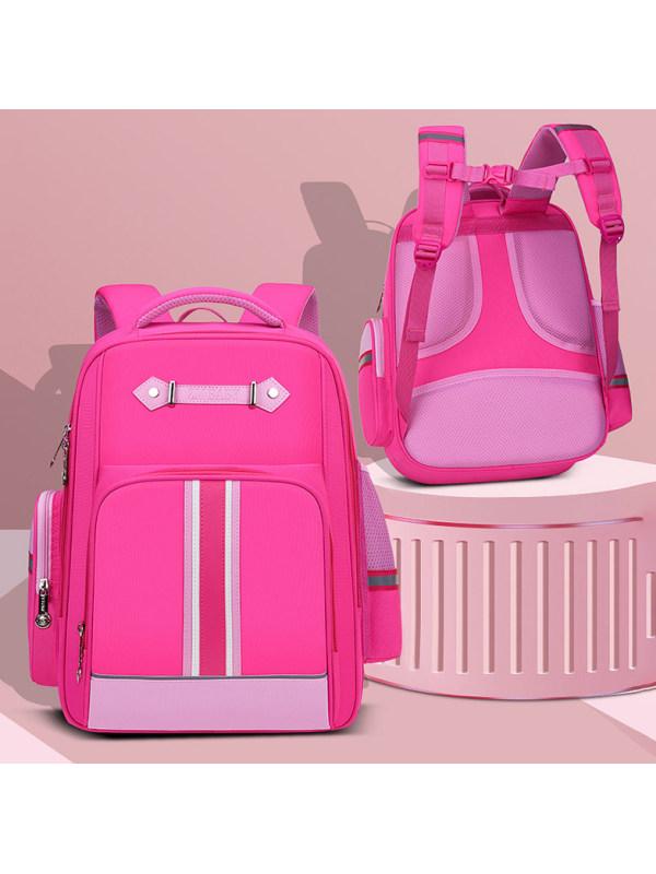 Contrasting Color Leather Webbing Kids School Bag