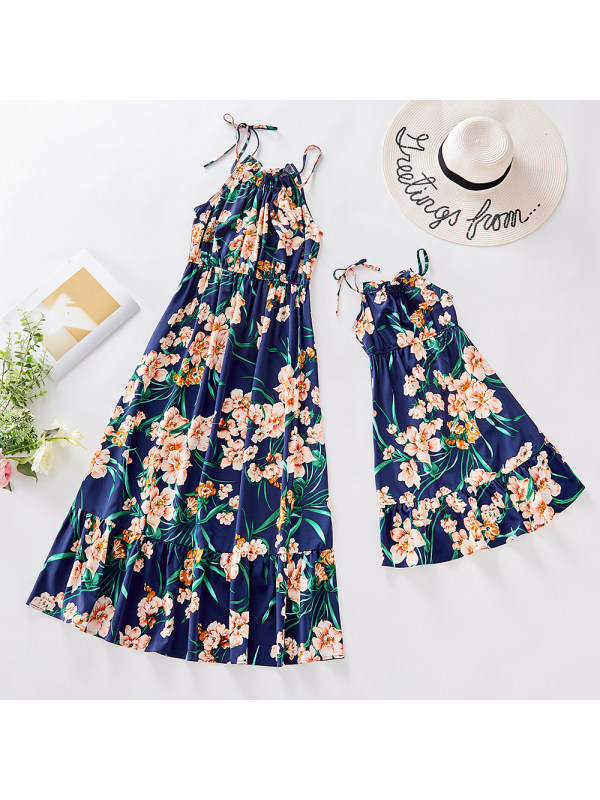 Flower Print Blue Suspenders Mom Girl Matching Dress