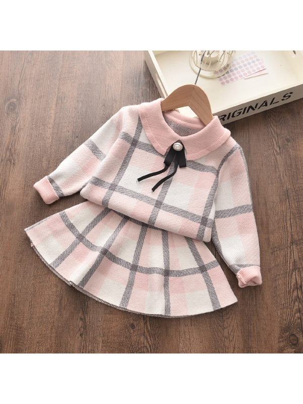 【18M-7Y】Plaid Pattern Lapel Long-Sleeved Sweater Top And Skirt Set