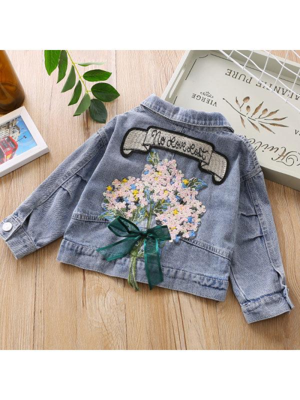【18M-7Y】Girls Sweet Sequin Embroidered Denim Jacket