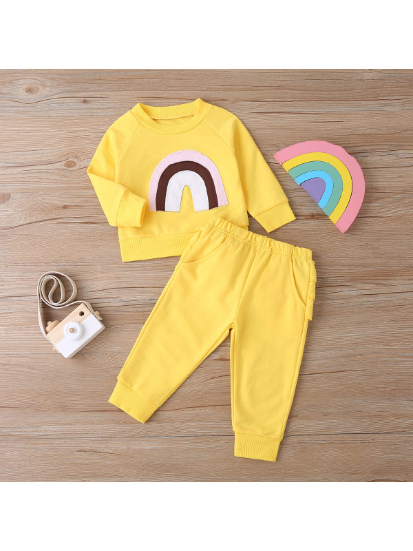 【6M-3Y】Rainbow Print Long-Sleeved Sweatshirt And Trouser Set