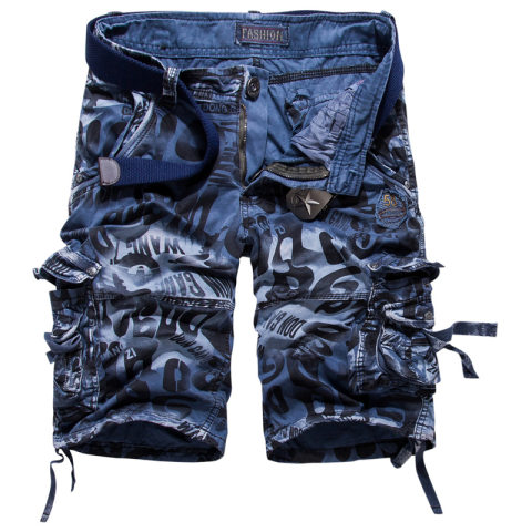 Casual Retro Mens Multi-color Camouflage Shorts