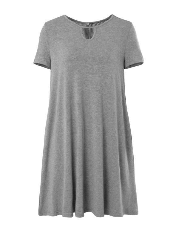 Ladies round neck short sleeve pocket dress