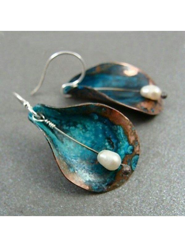 Hot sale vintage green leaf pearl earrings fashion